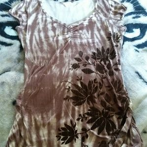 Maurices Tie Dye Velvet Flower V-Neck Top